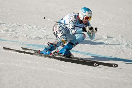 ski goggles: BANSKO, BULGARIA - FEBRUARY 24   Julia Mancuso  USA  competes in the  ladies