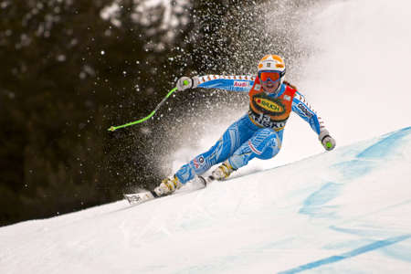 fis: BANSKO, BULGARIA - FEBRUARY 26  Ania Paerson  SWE  competing in Audi FIS Alpine Ski World Cup  Ladies
