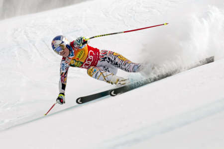 BANSKO, BULGARIA - FEBRUARY 26  Lindsey Vonn  USA  takes 1st place during the Audi FIS Alpine Ski World Cup Ladies Éditoriale