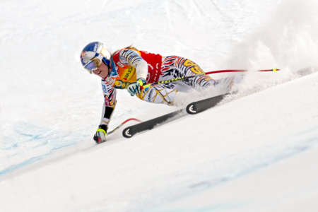 fis: BANSKO, BULGARIA - FEBRUARY 26  Lindsey Vonn  USA  takes 1st place during the Audi FIS Alpine Ski World Cup Ladies Editorial
