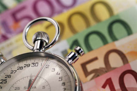 Time is money   Stopwatch and the European currency Banque d'images