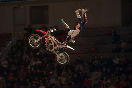 mx: Sofia, Bulgaria - January 10 : Competitor   performs trick during the 2015 FIM Mx Freestyle World Championship on January 10, 2015 in Sofia, Bulgaria. Editorial