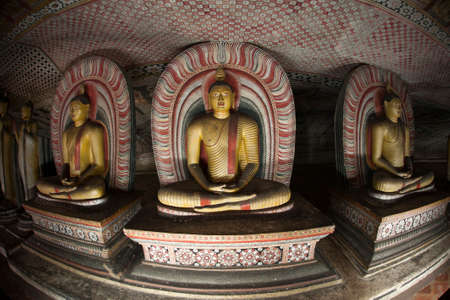 the world cultural heritage: Image of Buddha statues in a cave at the ancient Rock Temple, Dambulla, Sri Lanka.