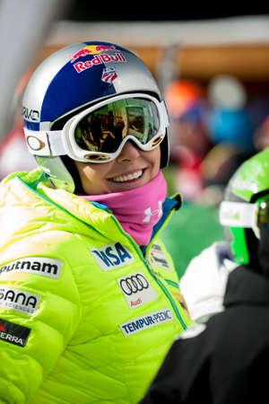 fis: BANSKO, BULGARIA - FEBRUARY 26,2015 :Lindsey Vonn (USA) at the Audi FIS Alpine Ski World Cup Ladies Super G on February 26,27,28, 2015 in Bansko, Bulgaria