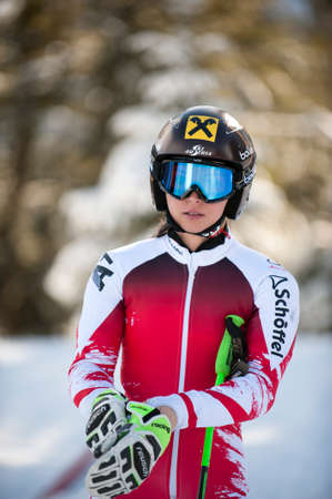 fis: BANSKO, BULGARIA - FEBRUARY 26, 2015: Anna Fenninger (AUT)  prepare for the official training run at  the Audi FIS Alpine Ski World Cup Ladies Super G  in Bansko, Bulgaria Editorial