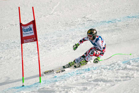 1st place: BANSKO, BULGARIA - MARCH 1, 2015: Anna Fenninger (AUT)  takes 1st place during the Audi FIS Alpine Ski World Cup Ladies alpine combined on MARCH  1 ,2015 in Bansko, Bulgaria
