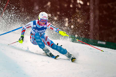 competes: BANSKO, BULGARIA - MARCH  1, 2015: Margot Bailet (FRA) competes in the Audi FIS Alpine Ski World Cup Ladies alpine combinedon MARCH  1 ,2015 in Bansko, Bulgaria