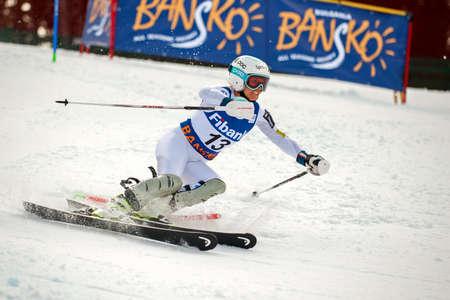 fis: BANSKO, BULGARIA - MARCH  1, 2015: Julia Mancuso (USA) competes in the Audi FIS Alpine Ski World Cup Ladies alpine combinedon MARCH  1 ,2015 in Bansko, Bulgaria