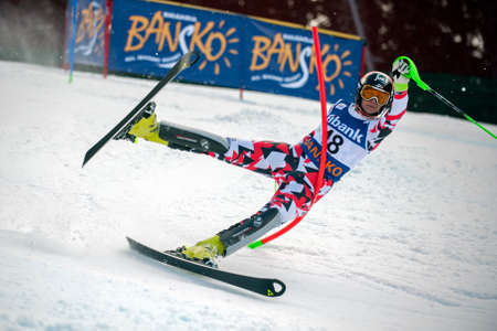fis: BANSKO, BULGARIA - MARCH 1, 2015: Nicole Hosp (AUT) crashes out of the race during Audi FIS Alpine Ski World Cup Ladies alpine combined  in Bansko, Bulgaria Editorial