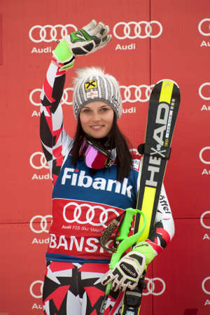 anna: BANSKO, BULGARIA - MARCH 1, 2015: Anna Fenninger (AUT)  takes 1st place during the Audi FIS Alpine Ski World Cup Ladies Super G  in Bansko, Bulgaria