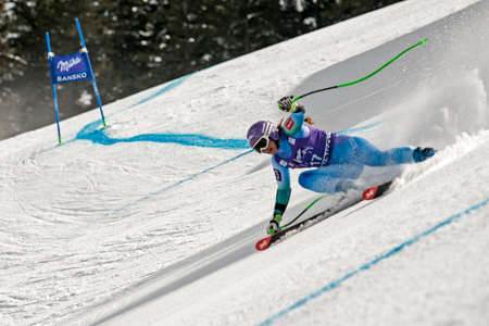 fis: BANSKO, BULGARIA - MARCH  2, 2015: Tina Maze (SLO) competes in the Audi FIS Alpine Ski World Cup Ladies Super G on MARCH  2 ,2015 in Bansko, Bulgaria