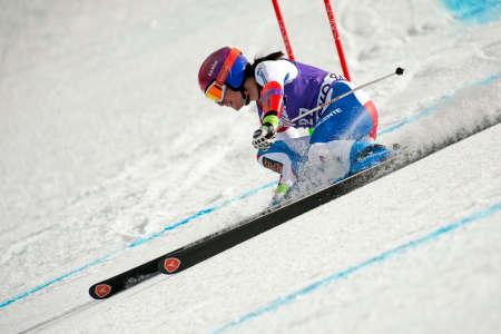 fis: Bansko, Bulgaria - 2 Marzo 2015: Dominique Gisin (SUI) compete nel Audi FIS di sci alpino Coppa del Mondo Ladies 'Super G il 2 marzo 2015 a Bansko, Bulgaria.