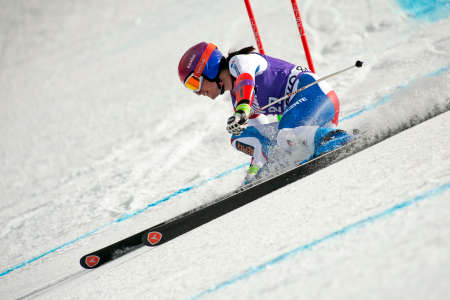 competes: Bansko,Bulgaria - March 2, 2015 :Dominique Gisin (SUI) competes in the Audi FIS Alpine Ski World Cup Ladies Super G on March 2, 2015 in Bansko, Bulgaria.