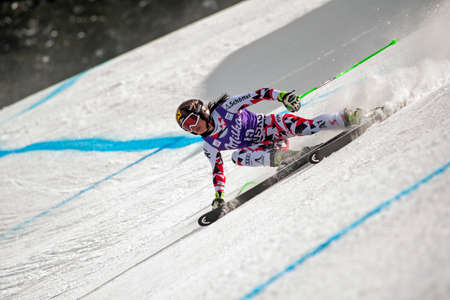 fis: BANSKO, BULGARIA -  MARCH  2, 2015: Anna Fenninger (AUT)  takes 1st place during the Audi FIS Alpine Ski World Cup Ladies Super G on MARCH  2, 2015 in Bansko, Bulgaria