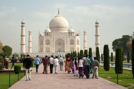 mumtaz: AGRA INDIA  APRIL 232015: Taj Mahal Mousoleum in Agra on April  23 2015. Taj Mahal was built by Mughal emperor Shah Jahan in memory of his third wife Mumtaz Mahal.