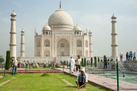 mumtaz: AGRA INDIA  APRIL 232015: Taj Mahal Mousoleum in Agra on April  23 2015. Taj Mahal was built by Mughal emperor Shah Jahan in memory of his third wife Mumtaz Mahal.