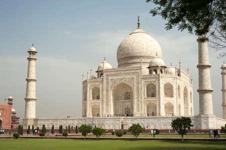 mughal: AGRA INDIA  APRIL 232015: Taj Mahal Mousoleum in Agra on April  23 2015. Taj Mahal was built by Mughal emperor Shah Jahan in memory of his third wife Mumtaz Mahal.