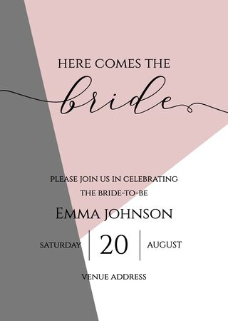 Bachelorette party, bridal shower calligraphy invitation card, banner or poster lettering vector design. Here comes the bride quote.