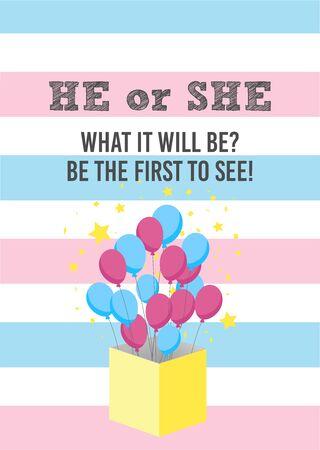 Gender reveal party card, banner vector element  design