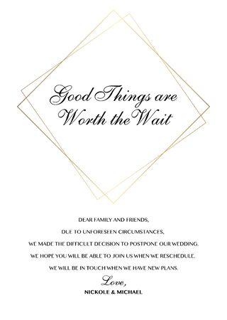 Wedding Postponement Change the Date Announcement Vector card