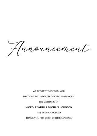 Wedding Cancellation Announcement Vector card