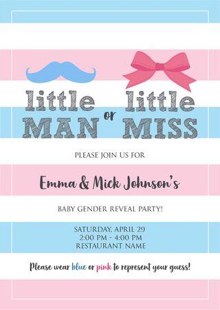Little Man or Little Miss? Gender reveal party invitation card vector design