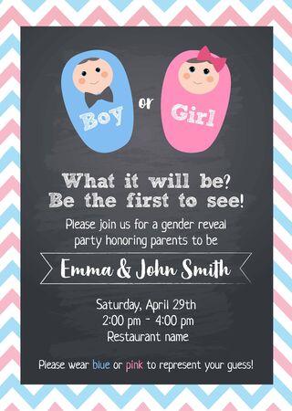 Boy or Girl? Gender reveal party invitation card vector design