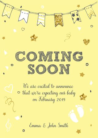 Coming soon. Baby birth announcement card vector design