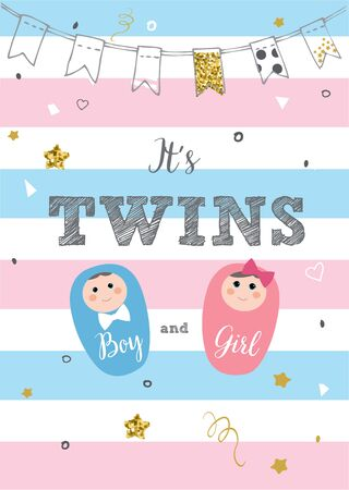 It's twins. Baby birth announcement card vector design 向量圖像