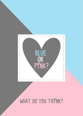 Blue or pink? Gender reveal party invitation card vector design