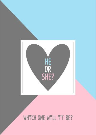 He or she? Gender reveal party invitation card vector design 向量圖像