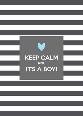 Keep calm and it's a boy! Vector card design 向量圖像
