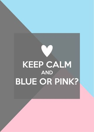 Keep calm and blue or pink? Gender reveal party invitation card vector design 向量圖像