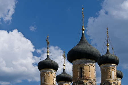 voronezh: Domes of the Assumption Cathedral in Voronezh Admiralty embankment Stock Photo