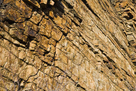 breakage: breakage of the inclined strata of sedimentary rocks