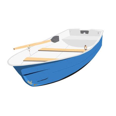 白い背景に分離の手漕ぎボート ベクトル イラスト  イラスト・ベクター素材