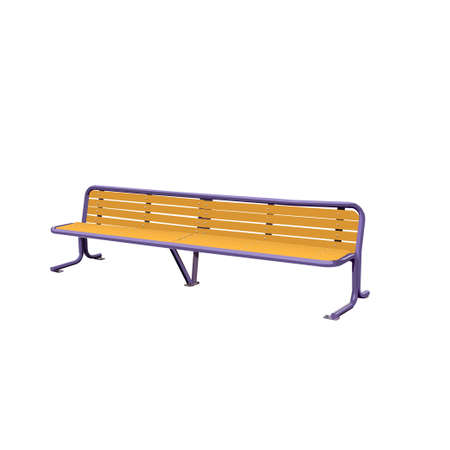 metal legs: Wooden detailed bench on white. Vector Illustration.