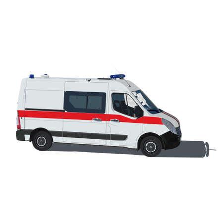 ambulancia: Ilustración vectorial Ambulancia de aislado en un fondo blanco