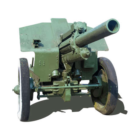 warlike: Old artillery gun howitzer vector illustration isolated on white background