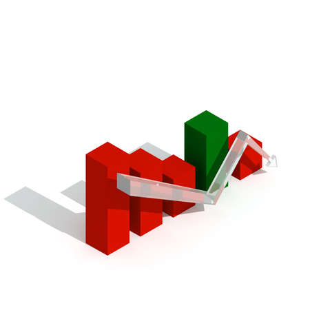 regress: Business graph and chart down trand 3d visualisation