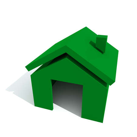 color 3d: Home green color 3D visualisation isolated on white background top view