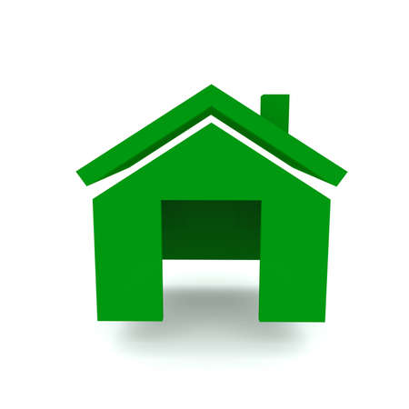 visualisation: Home green color 3D visualisation isolated on white background front view