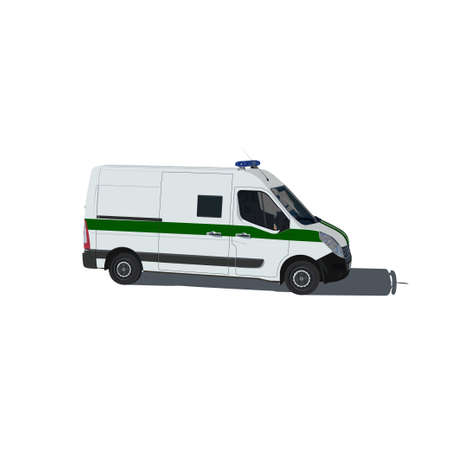armored safes: Armored security vehicle isolated vector illustration on white background