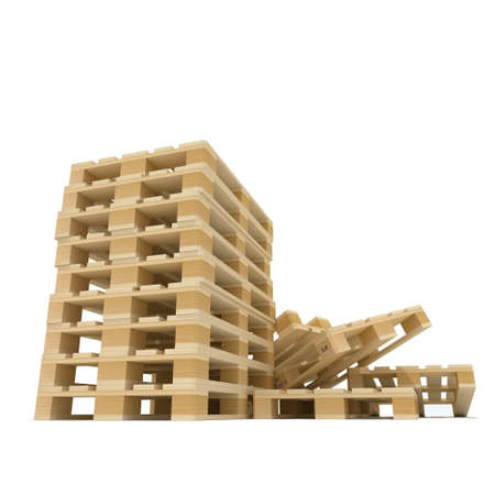 Pile of wooden Euro pallet 3D rendered illustration of isolated on white background
