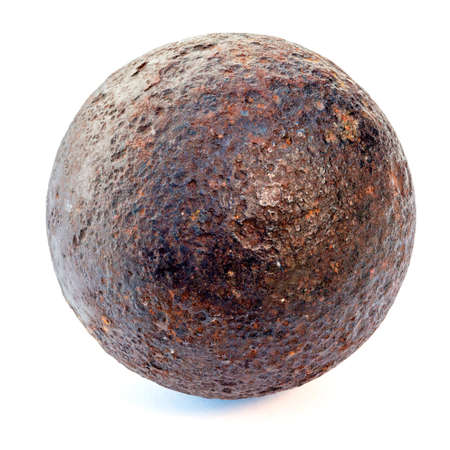 rust metal: 1812 year rust cannonball isolated on a white background Stock Photo