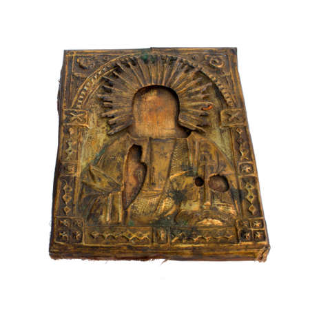 godliness: Antique Russian orthodox on wooden board isolated on white background