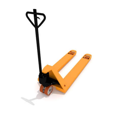 Industrial Equipment Warehouse, orange manual hand hydraulic pallet truck, forklift, isolated on a white background, saved path, nobody.