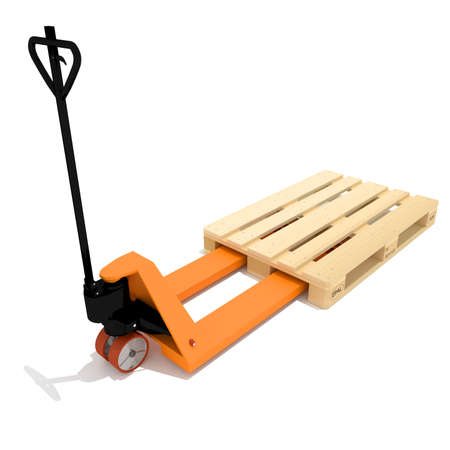 lifting jack: Industrial Equipment Warehouse, orange manual hand hydraulic pallet truck, forklift, isolated on a white background, saved path, nobody.