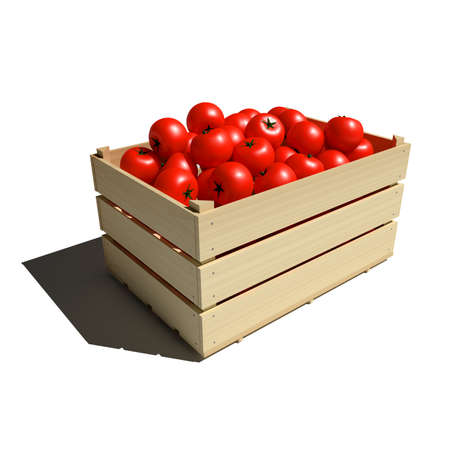 Ripe red tomatoes in wooden box isolated on white Imagens