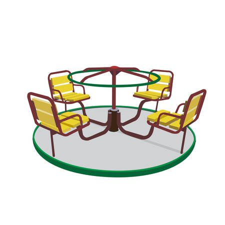Children carousel in the kids playground illustration isolation on white background